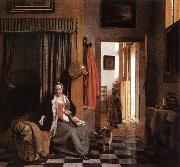 HOOCH, Pieter de Mother Lacing Her Bodice beside a Cradle s oil painting picture wholesale