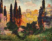 Henri Edmond Cross Cypress Trees at Cagnes oil painting picture wholesale