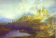 J.M.W. Turner Warkworth Castle Northumberland Thunder Storm Approaching at Sun-Set. oil painting artist
