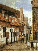 Jacobus Vrel Street Scene with Two Figures Walking Away oil painting picture wholesale