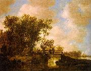 Jan van  Goyen Two Men on a Footbridge Over a Stream oil