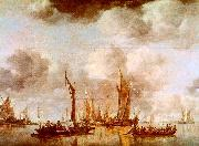 Jan van de Cappelle A Dutch Yacht and Many Small Vessels at Anchor oil painting picture wholesale