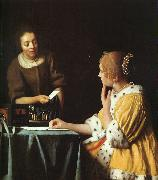 JanVermeer Lady with her Maidservant oil painting artist