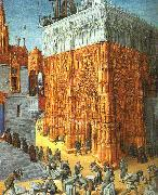 Jean Fouquet The Building of a Cathedral oil
