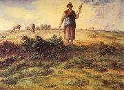 Jean-Franc Millet A Shepherdess and her Flock Watercolour heightened with white oil painting picture wholesale