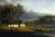 Jens Juel A Storm Brewing Behind a Farmhouse in Zealand oil painting artist
