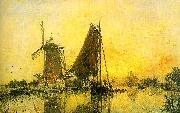 Johann Barthold Jongkind In Holland ; Boats near the Mill oil painting artist