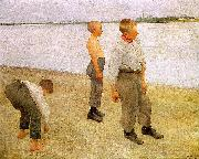 Karoly Ferenczy Boys Throwing Pebbles into the River oil painting artist