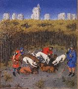 LIMBOURG brothers Les trs riches heures du Duc de Berry: December (detail) dg oil painting picture wholesale