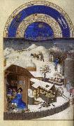 LIMBOURG brothers Les trs riches heures du Duc de Berry: Fevrier (February) sef oil painting picture wholesale