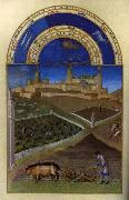 LIMBOURG brothers Les trs riches heures du Duc de Berry: Mars (March) wf oil painting artist