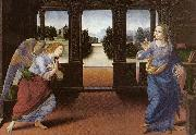 LORENZO DI CREDI Annunciation (detail) sg oil painting artist