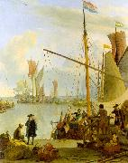 Ludolf Backhuysen The Y at Amsterdam viewed from Mussel Pier oil painting artist