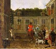 Ludolf de Jongh Hunting Party in the Courtyard of a Country House oil painting artist