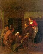 Ludolf de Jongh Messenger Reading to a Group in a Tavern oil painting artist