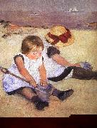 Mary Cassatt Children Playing on the Beach Sweden oil painting reproduction
