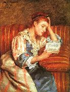 Mary Cassatt Mrs Duffee Seated on a Striped Sofa, Reading oil painting picture wholesale