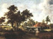 Meindert Hobbema Wooded Landscape with Water Mill oil painting picture wholesale