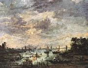 NEER, Aert van der Fishing at Moonlight ag oil painting artist