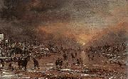 NEER, Aert van der Sports on a Frozen River g oil painting artist