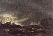 NEER, Aert van der Small Town at Dusk ag oil painting artist