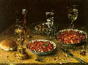 Osias Beert Still Life with Cherries Strawberries in China Bowls oil painting artist