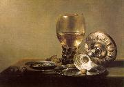 Pieter Claesz Still Life with Wine Glass and Silver Bowl oil painting picture wholesale