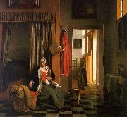 Pieter de Hooch Mother Lacing her Bodice Beside a Cradle oil painting artist