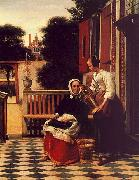 Pieter de Hooch Woman and a Maid with a Pail in a Courtyard oil painting artist