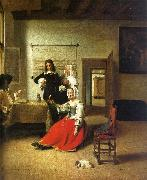 Pieter de Hooch Woman Drinking with Soldiers oil painting artist