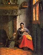 Pieter de Hooch Woman Nursing an Infant oil painting artist