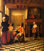 Pieter de Hooch Woman Drinking with Two Men and a Maidservant oil painting artist