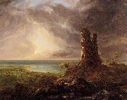 Thomas Cole Romantic Landscape with Ruined Tower oil painting picture wholesale