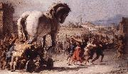 TIEPOLO, Giovanni Domenico The Procession of the Trojan Horse in Troy e oil painting artist