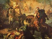 Theodore Chasseriau Arab Chiefs Challenging to Combat under a City Ramparts oil painting picture wholesale