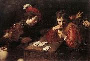 VALENTIN DE BOULOGNE Card-sharpers at oil painting artist