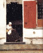 VERMEER VAN DELFT, Jan The Little Street (detail) etr oil painting picture wholesale
