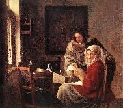 VERMEER VAN DELFT, Jan Girl Interrupted at Her Music r oil painting picture wholesale