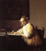 VERMEER VAN DELFT, Jan A Lady Writing a Letter qr oil painting picture wholesale