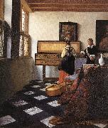 VERMEER VAN DELFT, Jan A Lady at the Virginals with a Gentleman wt oil painting picture wholesale