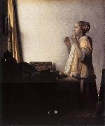 VERMEER VAN DELFT, Jan Woman with a Pearl Necklace wer oil painting picture wholesale
