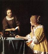 VERMEER VAN DELFT, Jan Lady with Her Maidservant Holding a Letter wetr oil painting picture wholesale