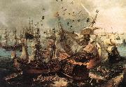 VROOM, Hendrick Cornelisz. Battle of Gibraltar qe oil painting artist