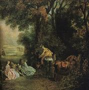 WATTEAU, Antoine A Halt During the Chase21 oil painting picture wholesale