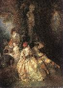 WATTEAU, Antoine Harlequin and Columbine oil painting picture wholesale