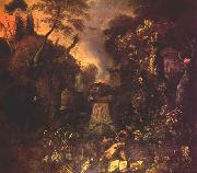 WITHOOS, Mathias Landscape with a Graveyard by Night oil painting picture wholesale