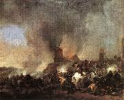 WOUWERMAN, Philips Cavalry Battle in front of a Burning Mill tfur oil painting picture wholesale