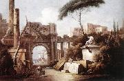ZAIS, Giuseppe Ancient Ruins with a Great Arch and a Column oil painting artist