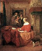 METSU, Gabriel A Woman Seated at a Table and a Man Tuning a Violin sg oil painting picture wholesale