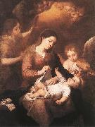 MURILLO, Bartolome Esteban Mary and Child with Angels Playing Music sg oil painting picture wholesale